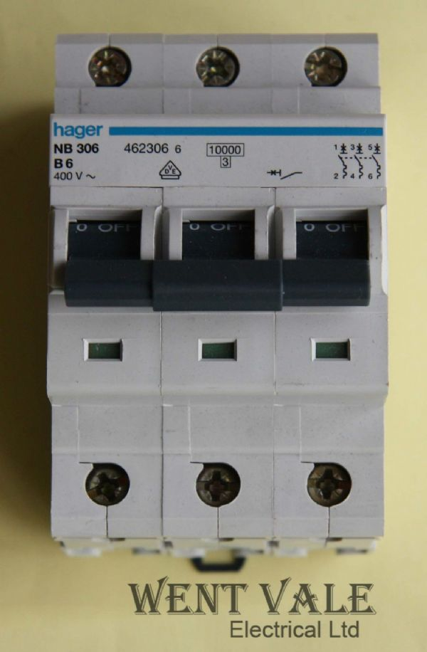 Hager NB306 - 6a Type B Triple Pole MCB Used